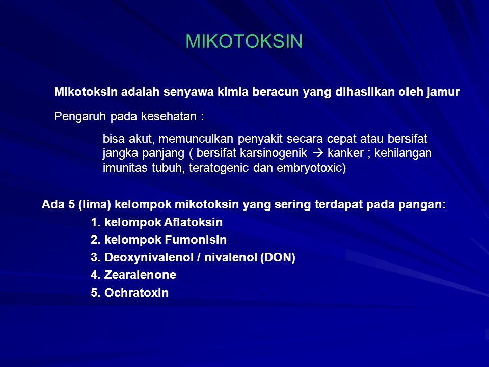 MIKOTOKSIN Mikotoksin adalah senyawa kimia beracun yang dihasilkan oleh jamur. Pengaruh pada kesehatan :