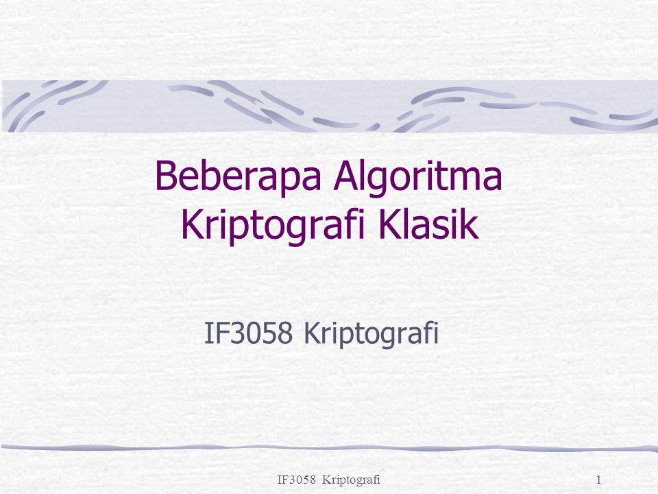 Beberapa Algoritma Kriptografi Klasik