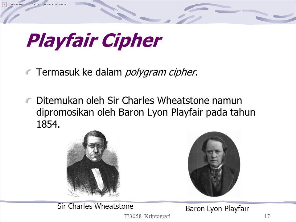 Playfair Cipher Termasuk ke dalam polygram cipher.