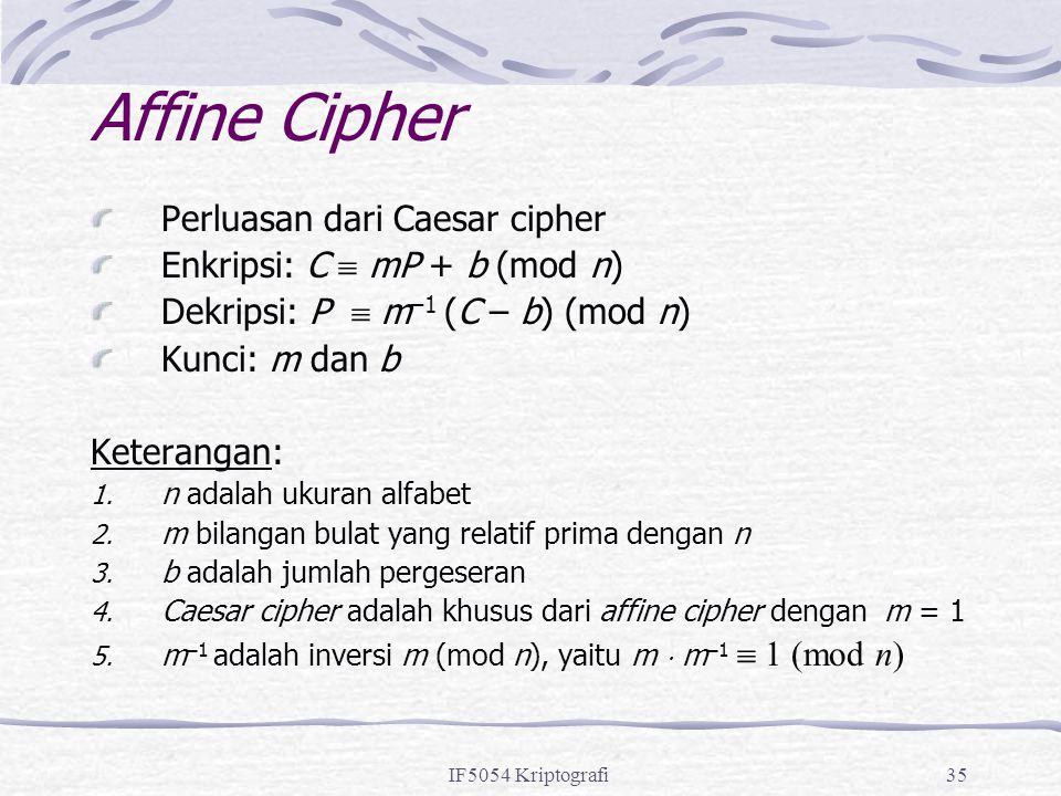 Affine Cipher Perluasan dari Caesar cipher