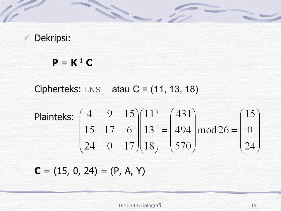 Cipherteks: LNS atau C = (11, 13, 18) Plainteks: