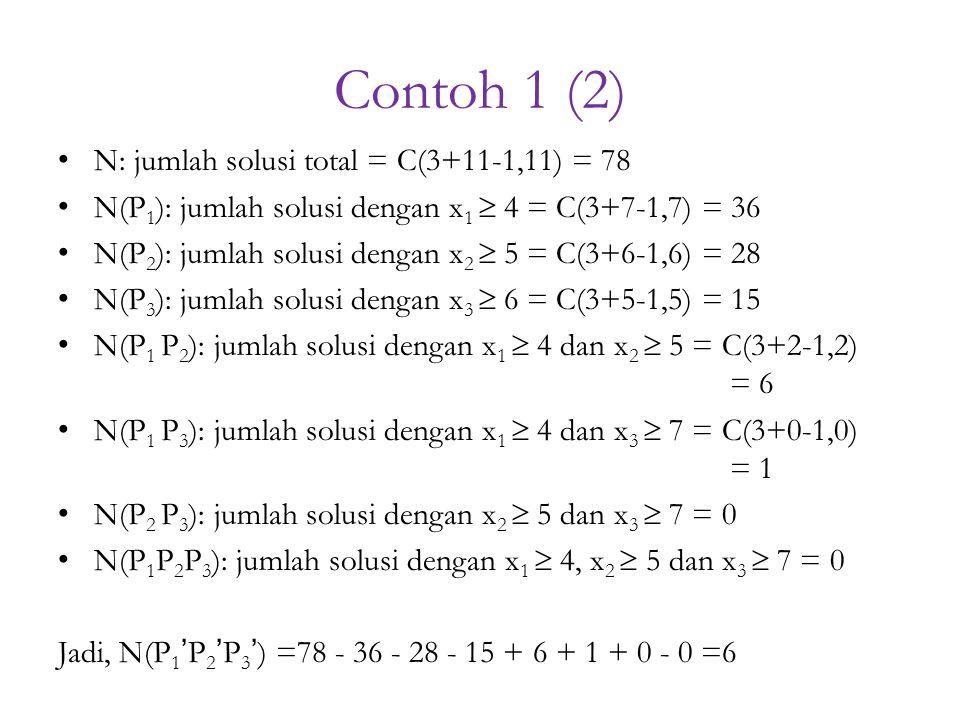 Contoh 1 (2) N: jumlah solusi total = C(3+11-1,11) = 78