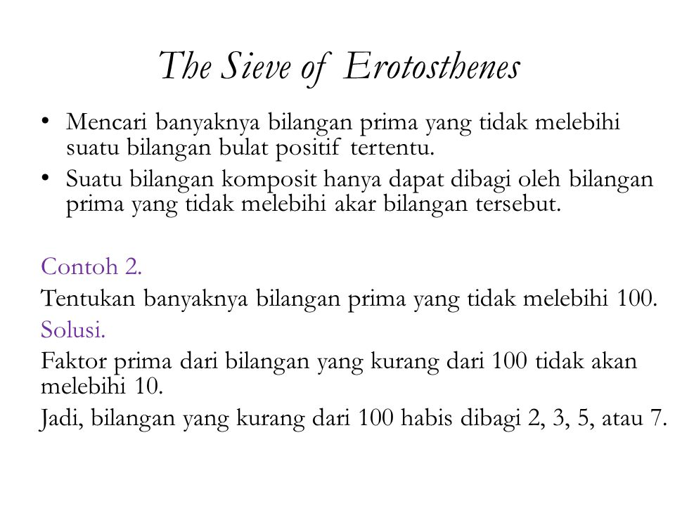 The Sieve of Erotosthenes