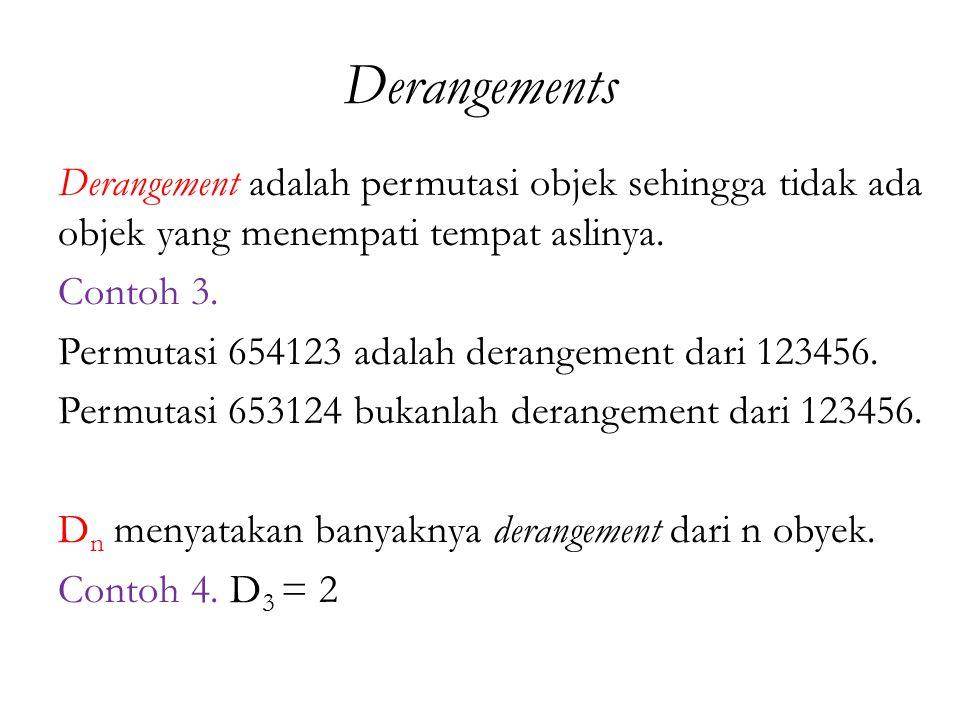 Derangements Derangement adalah permutasi objek sehingga tidak ada objek yang menempati tempat aslinya.
