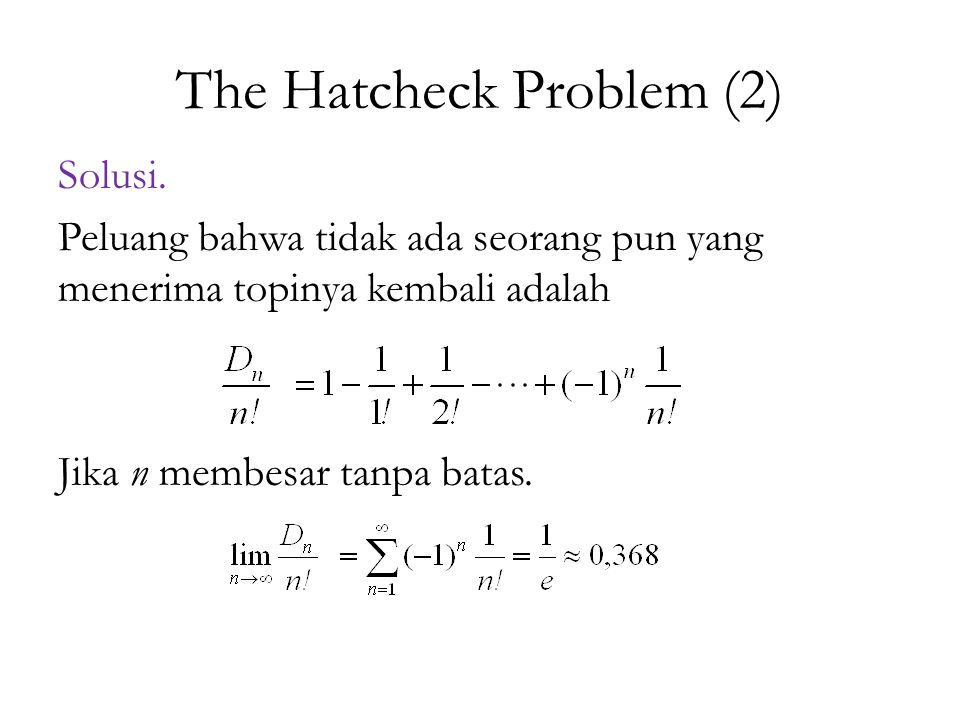 The Hatcheck Problem (2)