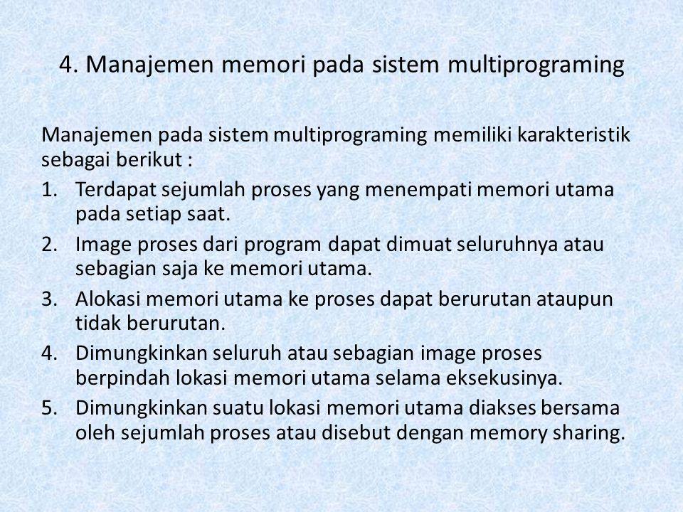 4. Manajemen memori pada sistem multiprograming