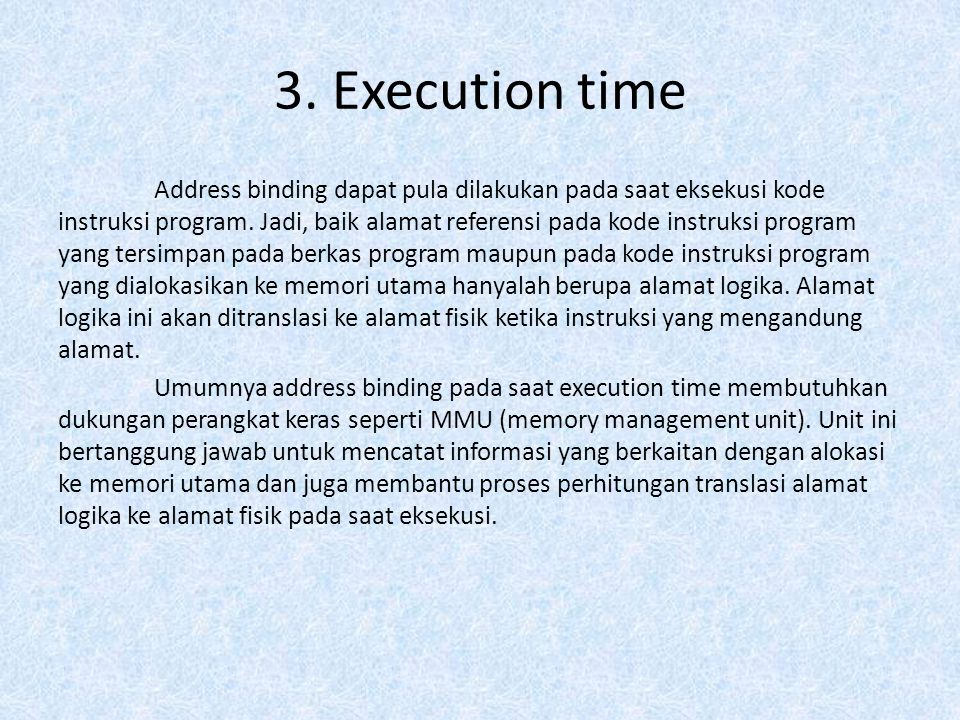 3. Execution time