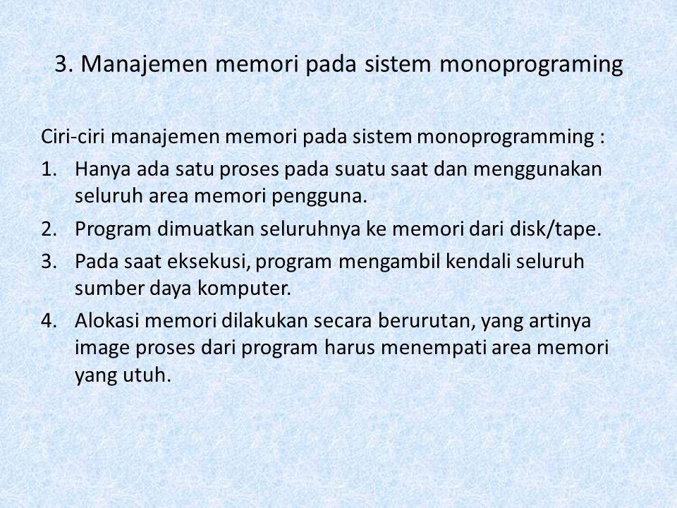 3. Manajemen memori pada sistem monoprograming