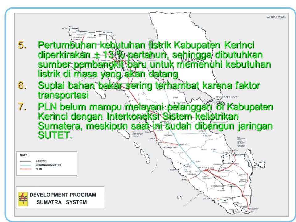 Pertumbuhan kebutuhan listrik Kabupaten Kerinci diperkirakan ± 13 % pertahun, sehingga dibutuhkan sumber pembangkit baru untuk memenuhi kebutuhan listrik di masa yang akan datang