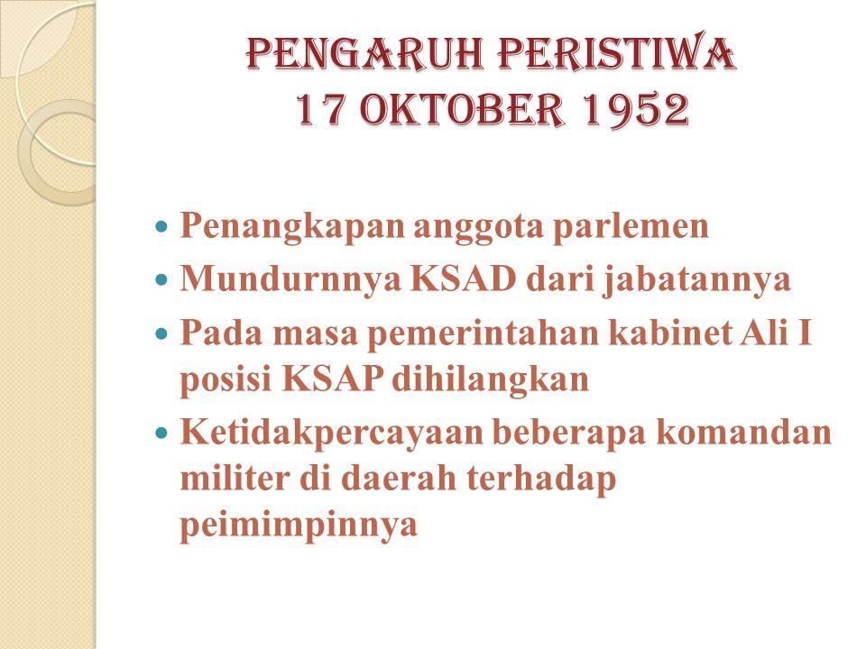 Pengaruh peristiwa 17 oktober 1952