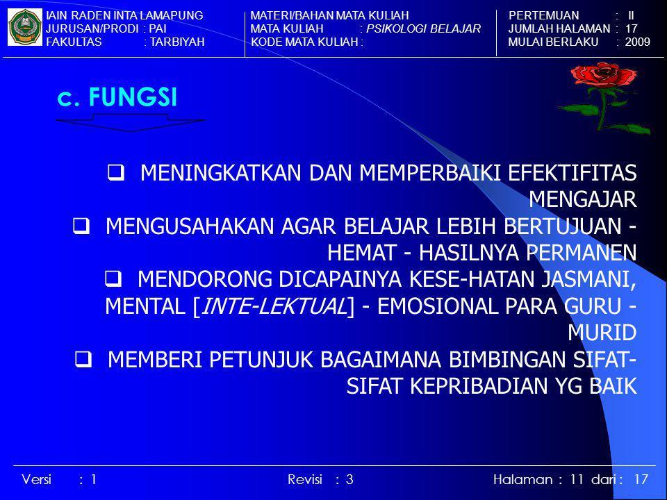 c. FUNGSI MENINGKATKAN DAN MEMPERBAIKI EFEKTIFITAS MENGAJAR
