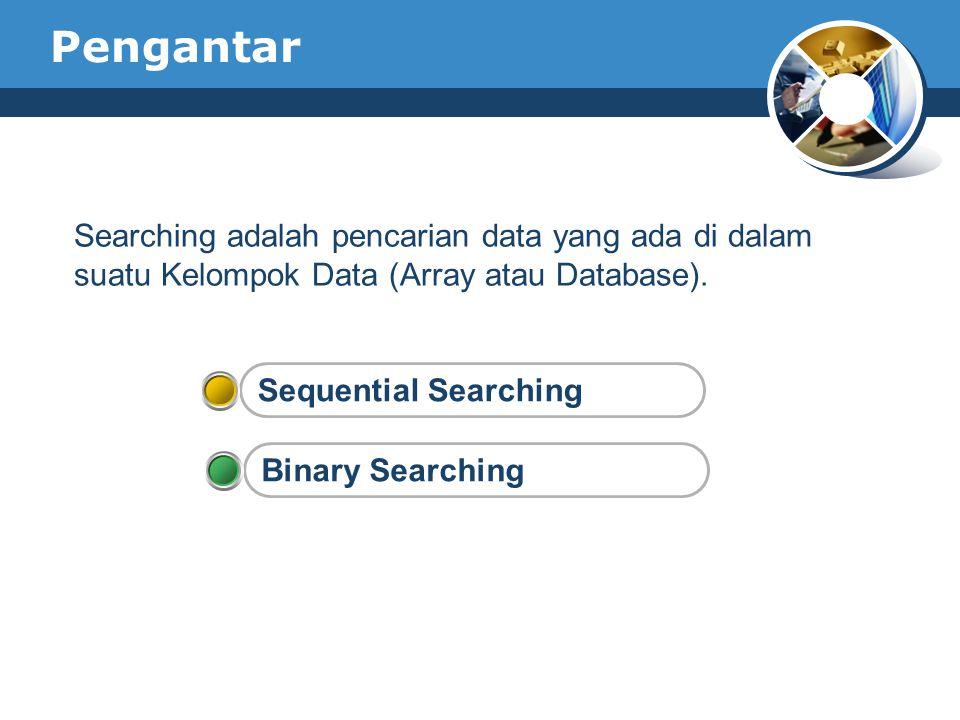 Pengantar Searching adalah pencarian data yang ada di dalam suatu Kelompok Data (Array atau Database).