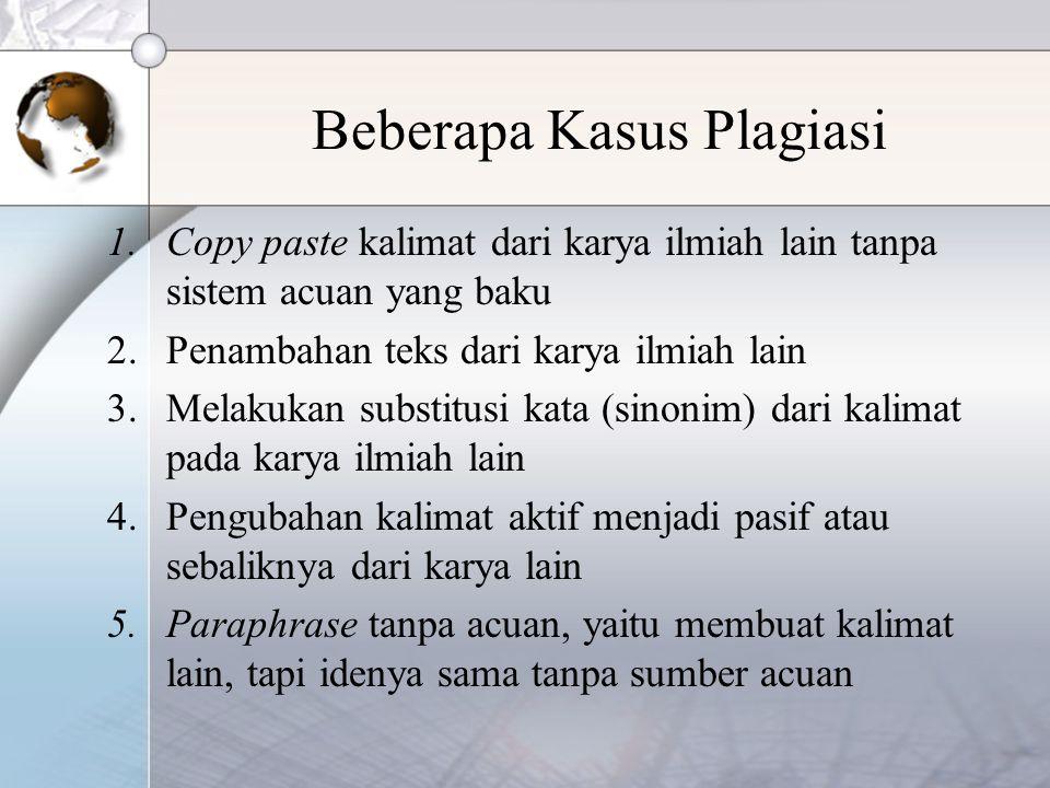 Beberapa Kasus Plagiasi