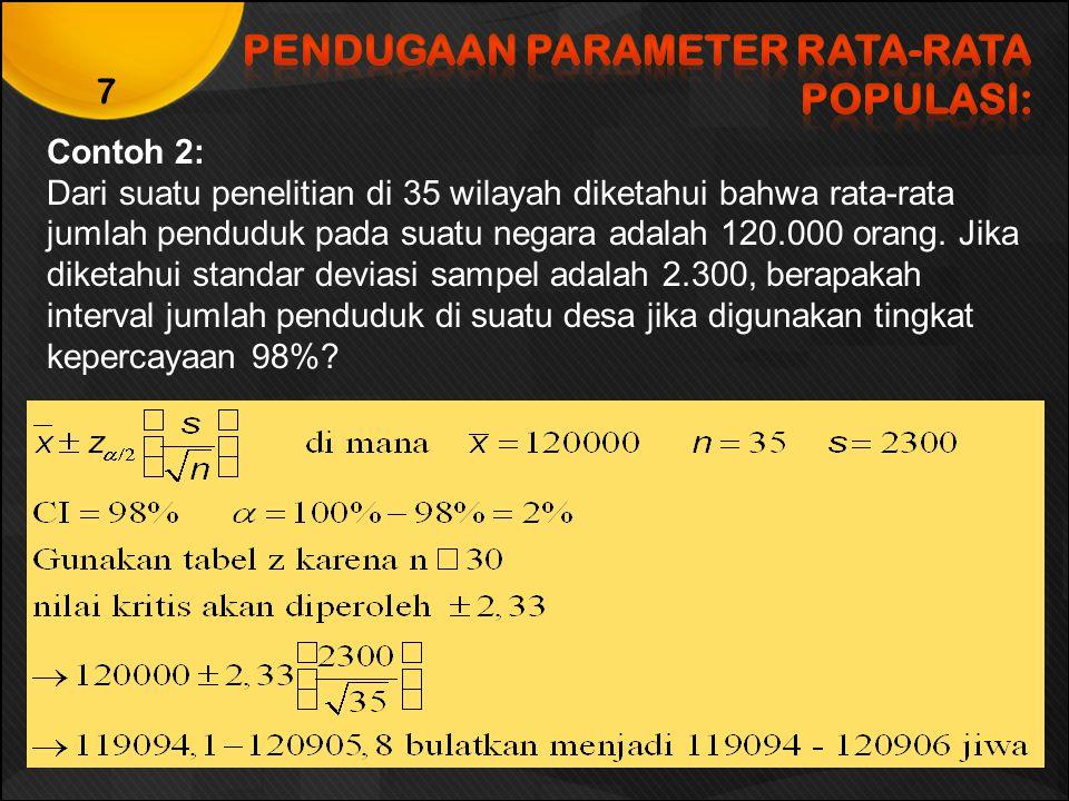 PENDUGAAN PARAMETER RATA-RATA POPULASI:
