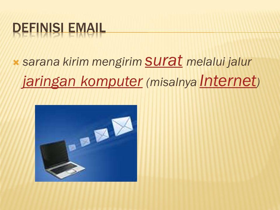 Definisi Email sarana kirim mengirim surat melalui jalur jaringan komputer (misalnya Internet)