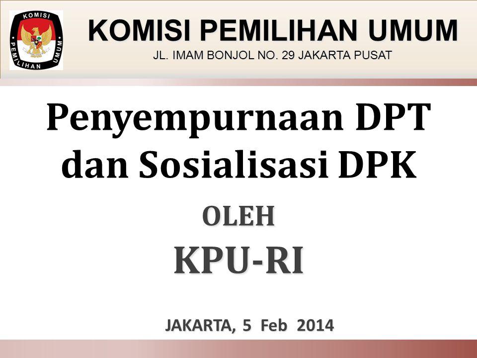 Penyempurnaan DPT dan Sosialisasi DPK OLEH KPU-RI