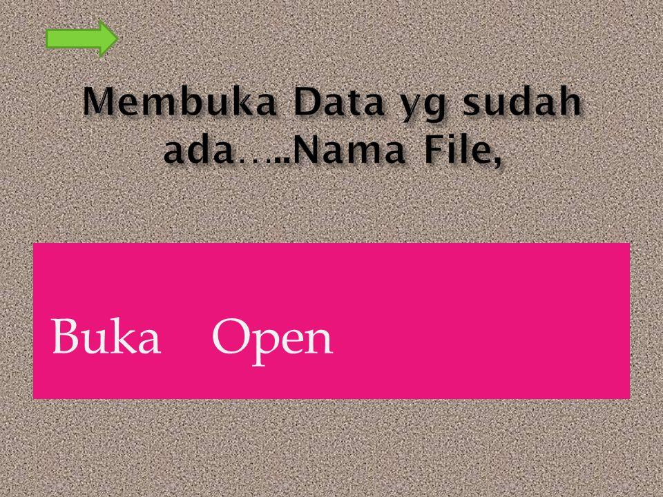 Membuka Data yg sudah ada…..Nama File,