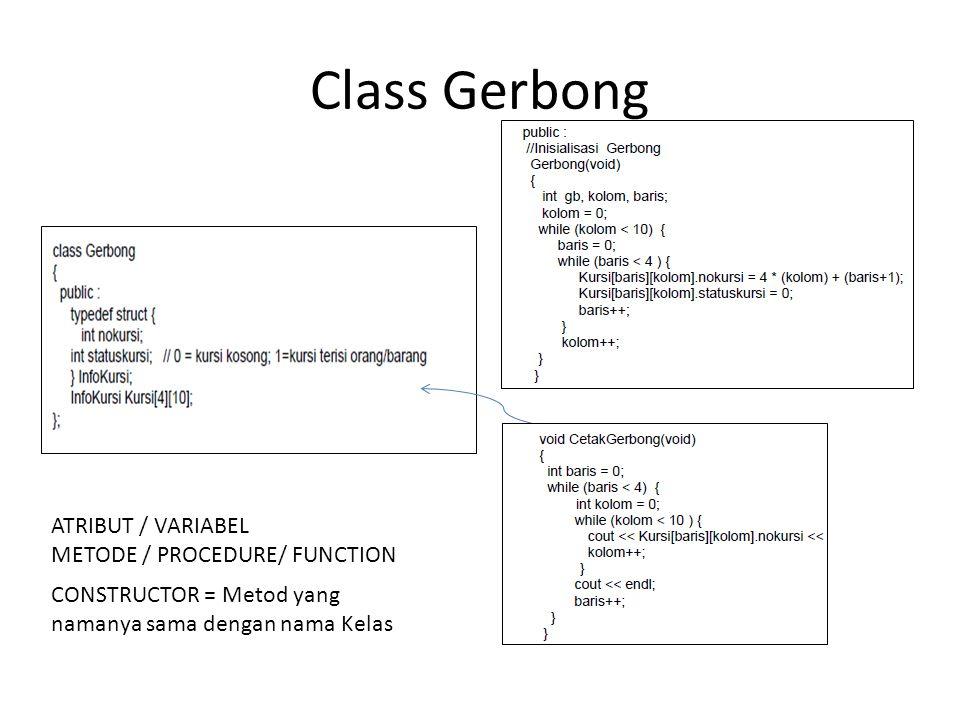 Class Gerbong ATRIBUT / VARIABEL METODE / PROCEDURE/ FUNCTION