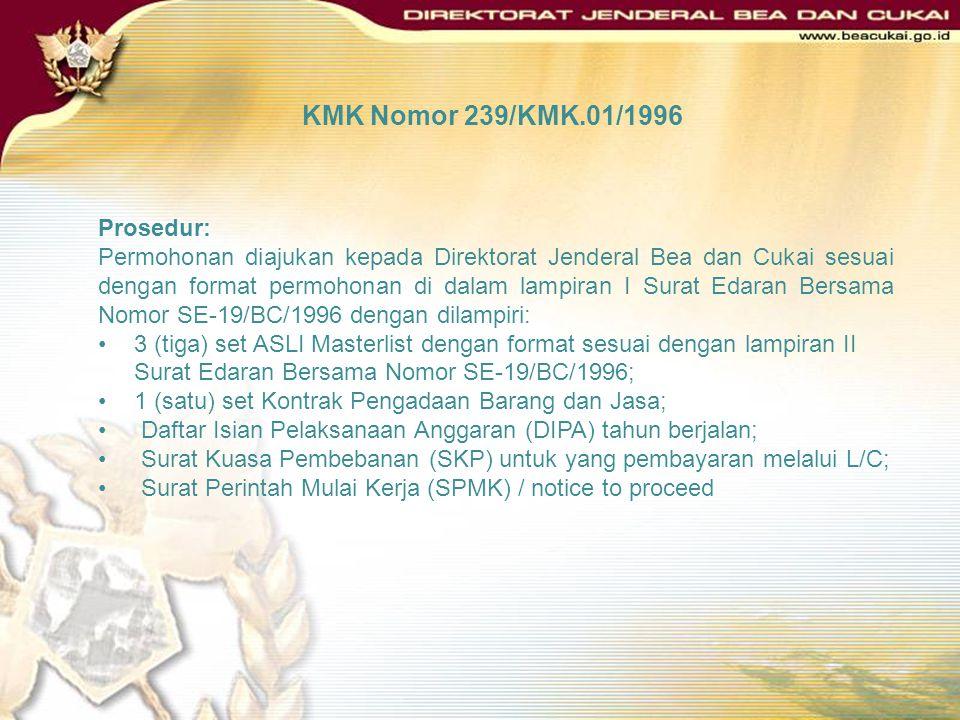 KMK Nomor 239/KMK.01/1996 Prosedur: