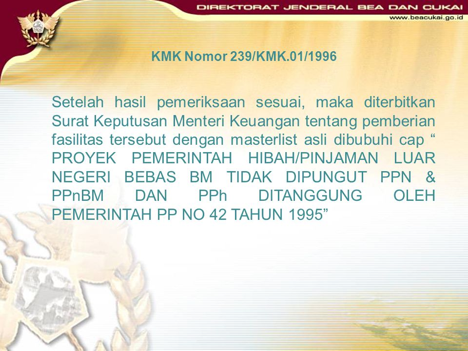 KMK Nomor 239/KMK.01/1996