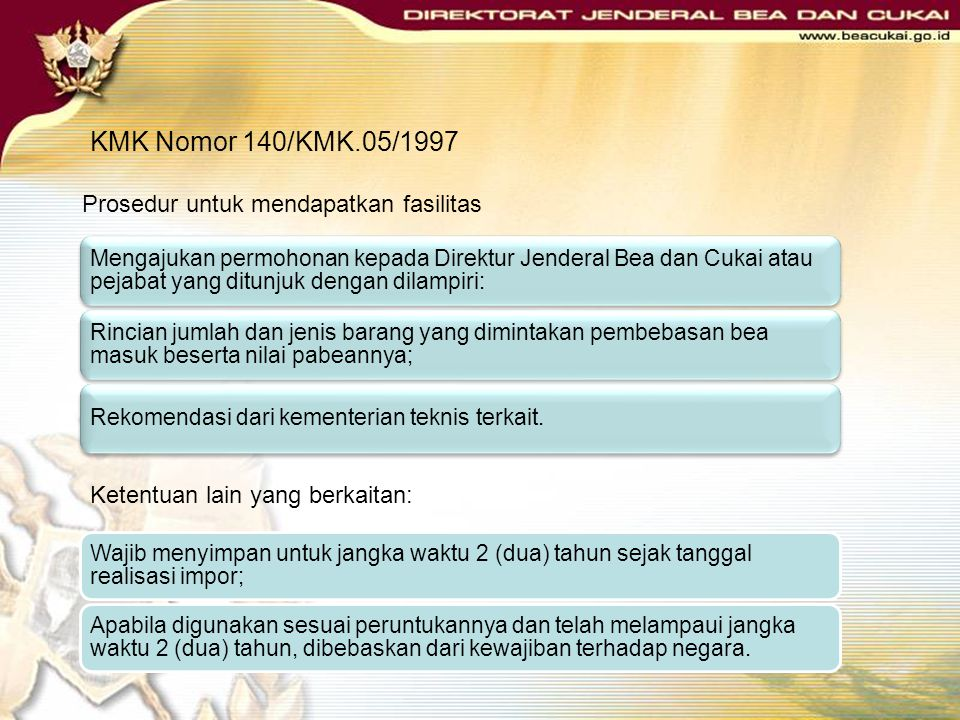KMK Nomor 140/KMK.05/1997 Prosedur untuk mendapatkan fasilitas