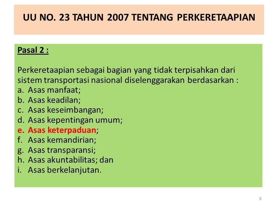 UU NO. 23 TAHUN 2007 TENTANG PERKERETAAPIAN