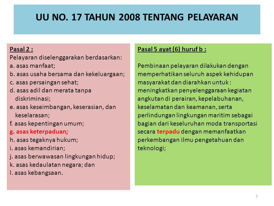 UU NO. 17 TAHUN 2008 TENTANG PELAYARAN