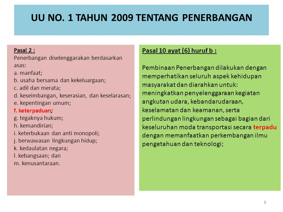 UU NO. 1 TAHUN 2009 TENTANG PENERBANGAN