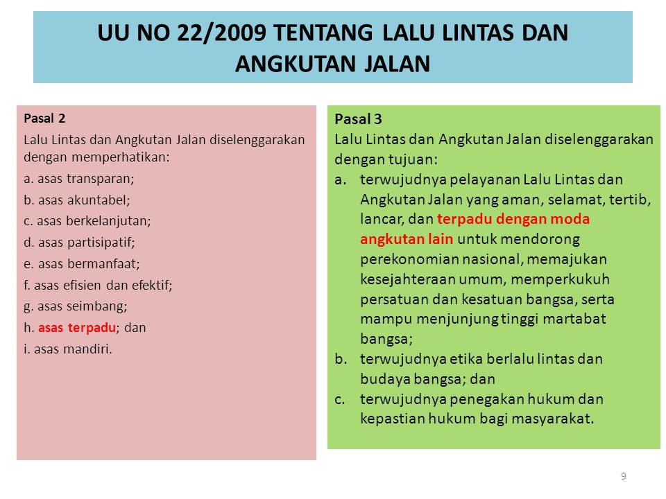 UU NO 22/2009 TENTANG LALU LINTAS DAN ANGKUTAN JALAN