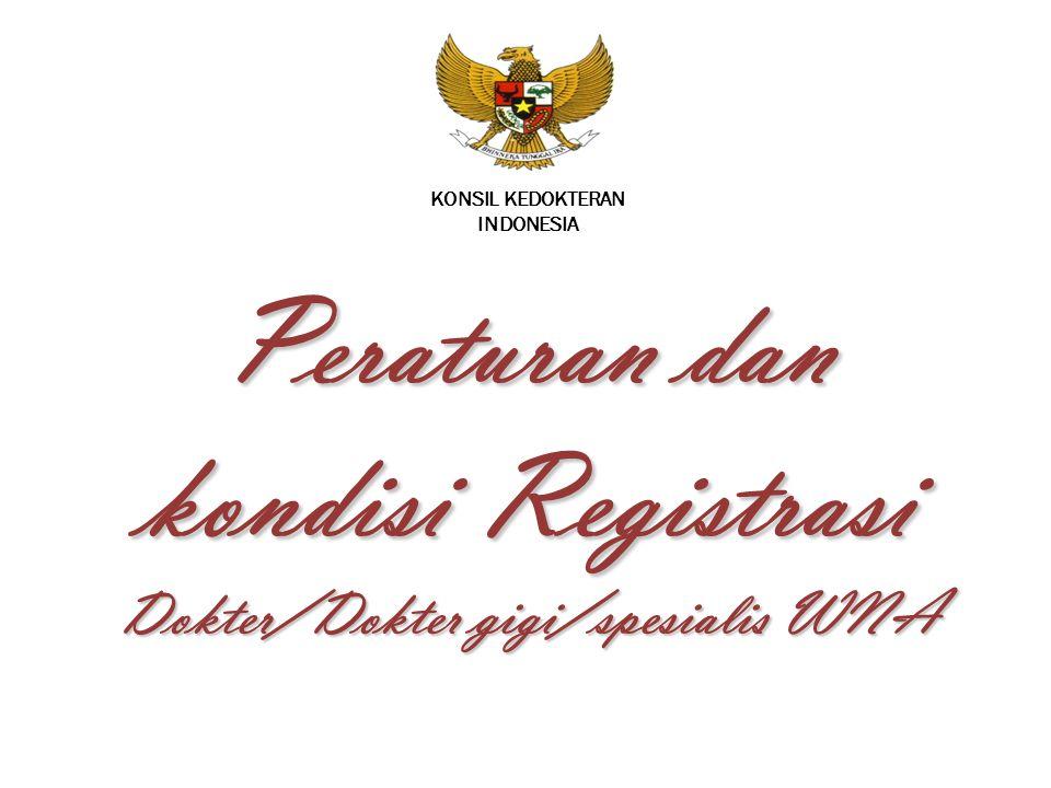 Peraturan dan kondisi Registrasi Dokter/Dokter gigi/spesialis WNA
