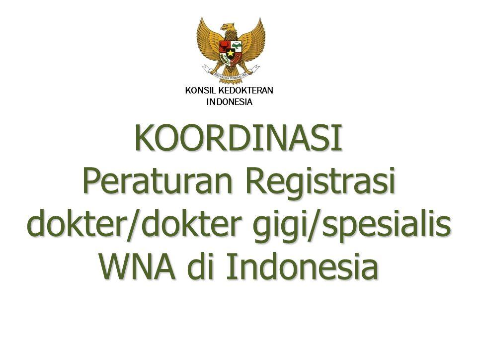 10/17/2009 KONSIL KEDOKTERAN. INDONESIA. KOORDINASI Peraturan Registrasi dokter/dokter gigi/spesialis WNA di Indonesia.