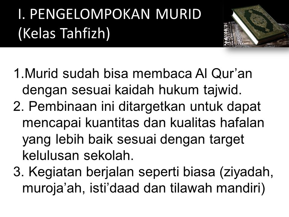 I. PENGELOMPOKAN MURID (Kelas Tahfizh)