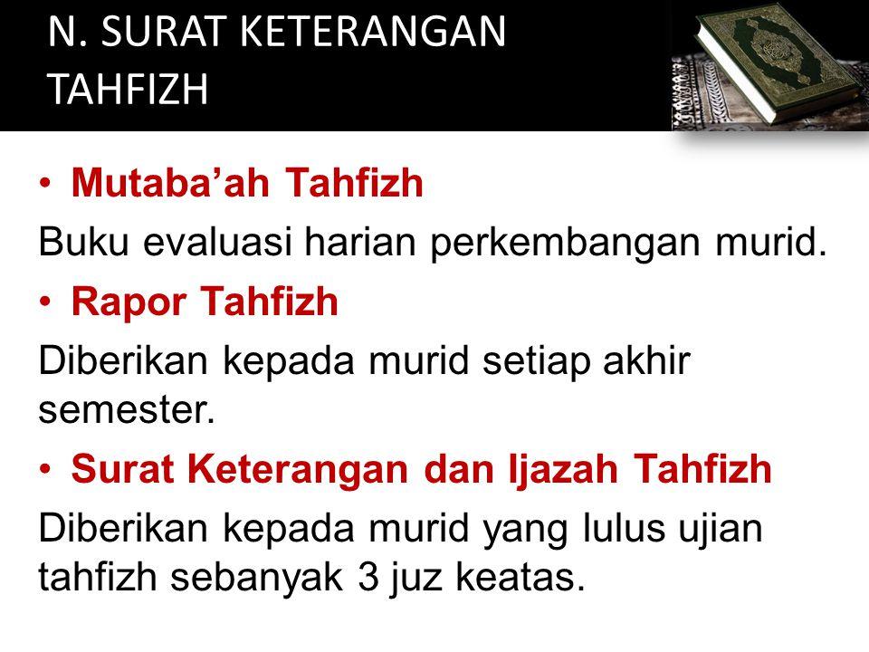 N. SURAT KETERANGAN TAHFIZH