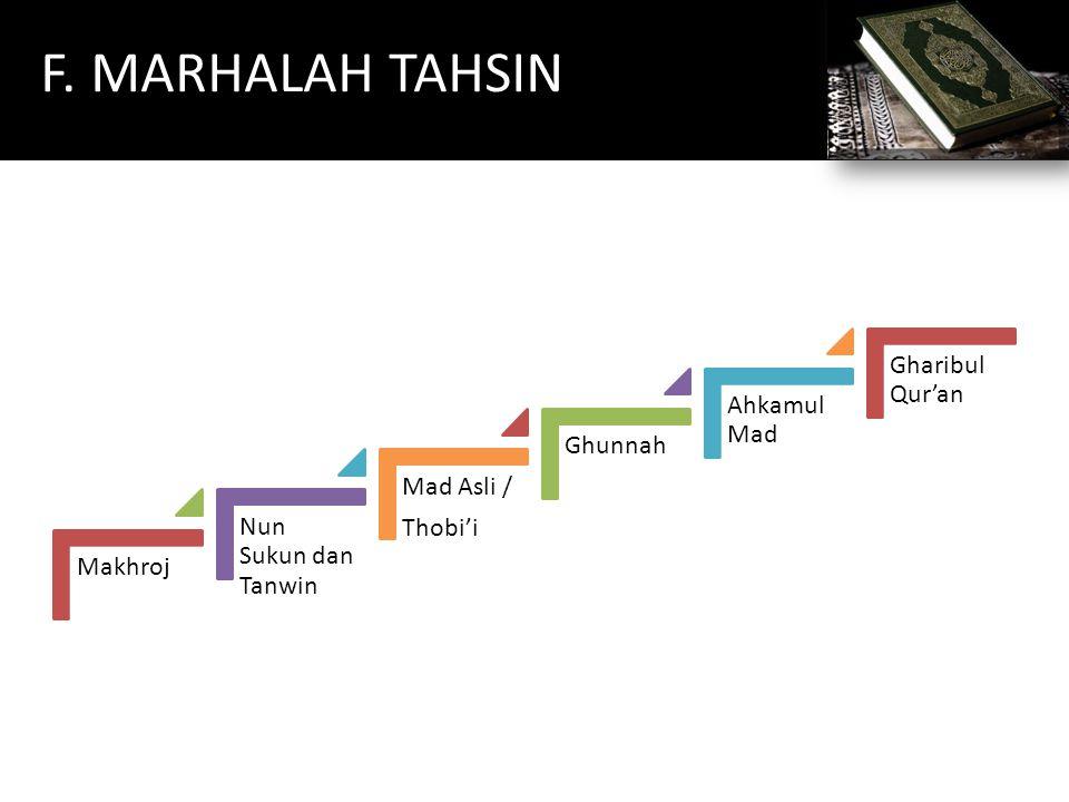 F. MARHALAH TAHSIN Gharibul Qur'an Ahkamul Mad Ghunnah Mad Asli /