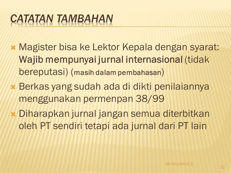 Catatan Tambahan Magister bisa ke Lektor Kepala dengan syarat: Wajib mempunyai jurnal internasional (tidak bereputasi) (masih dalam pembahasan)