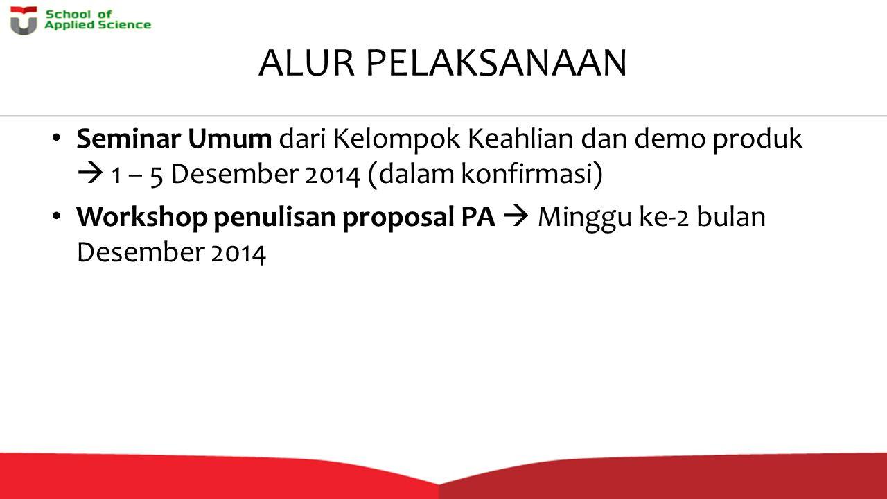 ALUR PELAKSANAAN Seminar Umum dari Kelompok Keahlian dan demo produk  1 – 5 Desember 2014 (dalam konfirmasi)