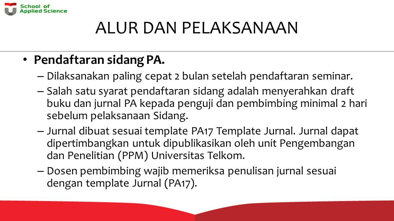 ALUR DAN PELAKSANAAN Pendaftaran sidang PA.