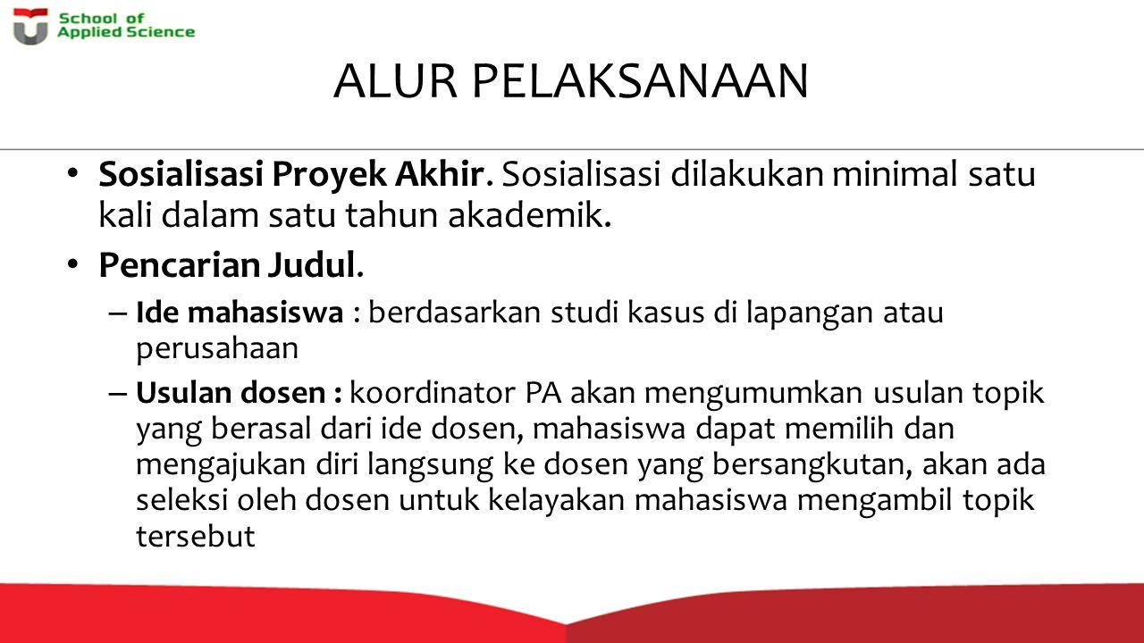 ALUR PELAKSANAAN Sosialisasi Proyek Akhir. Sosialisasi dilakukan minimal satu kali dalam satu tahun akademik.