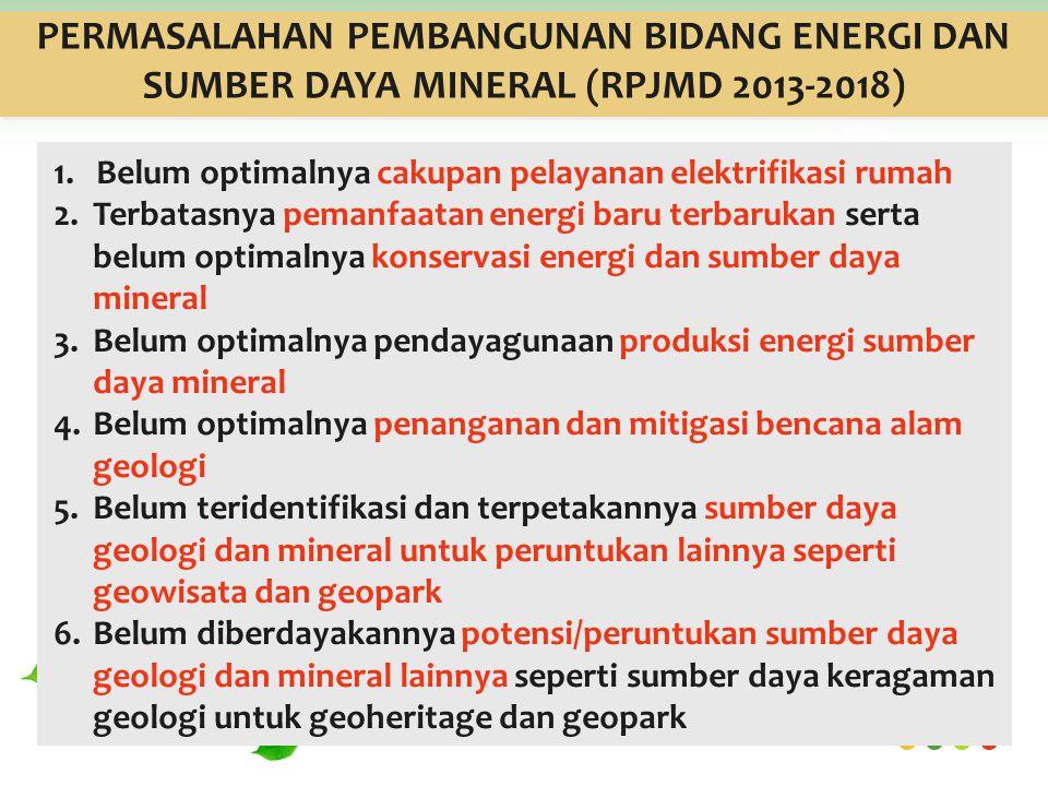 PERMASALAHAN PEMBANGUNAN BIDANG ENERGI DAN SUMBER DAYA MINERAL (RPJMD 2013-2018)