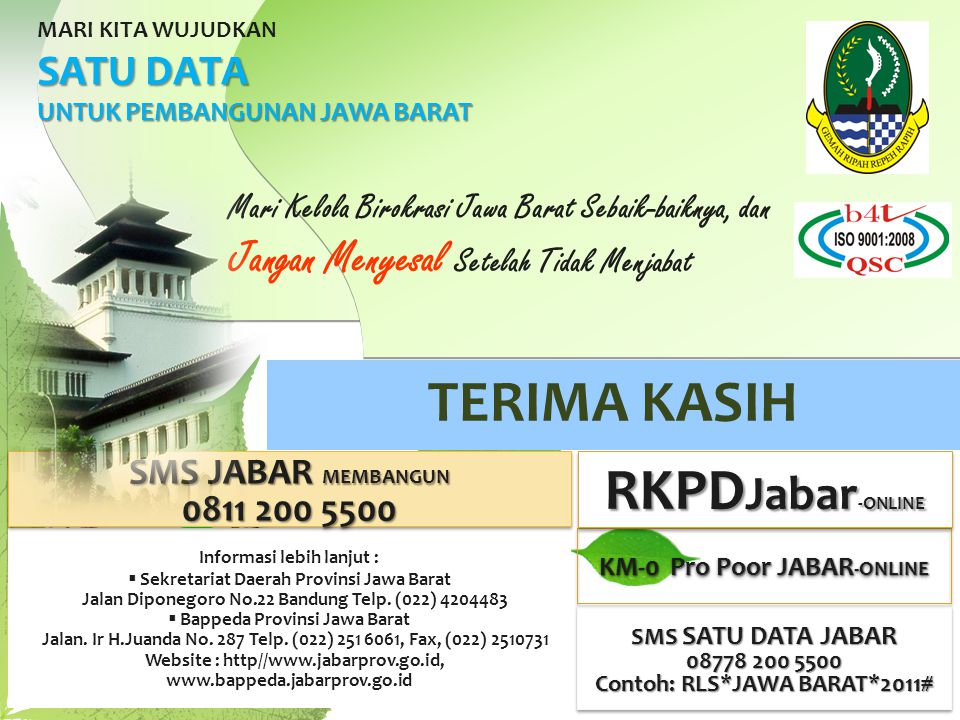 RKPDJabar-ONLINE Jangan Menyesal Setelah Tidak Menjabat SATU DATA