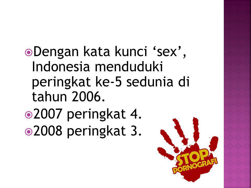 Dengan kata kunci 'sex', Indonesia menduduki peringkat ke-5 sedunia di tahun 2006.
