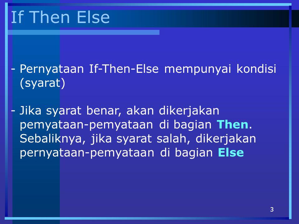 If Then Else Pernyataan If-Then-Else mempunyai kondisi (syarat)