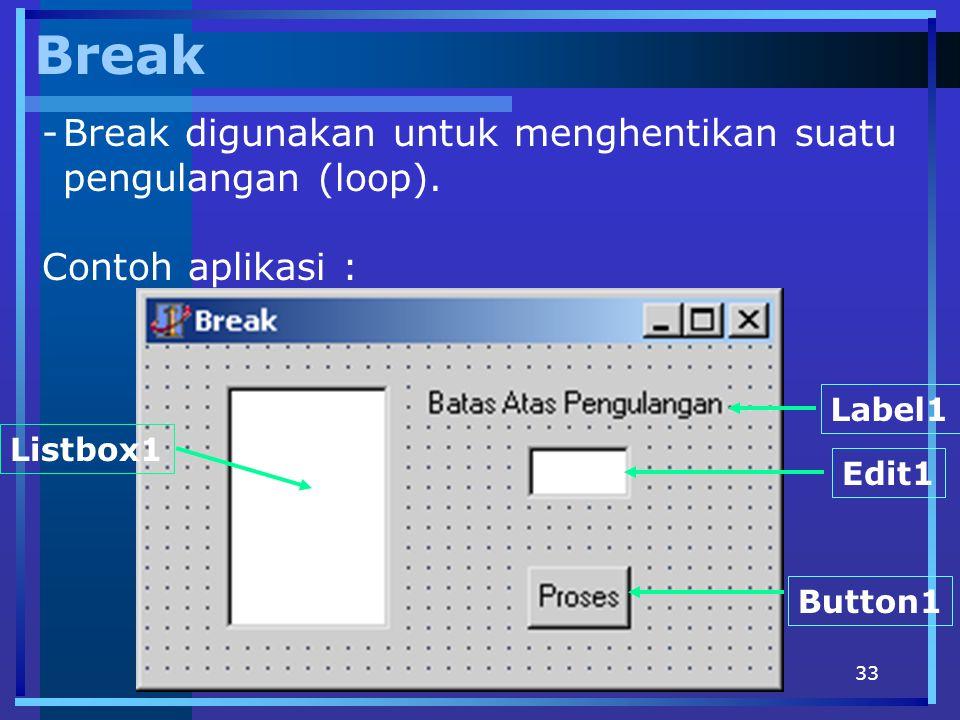 Break Break digunakan untuk menghentikan suatu pengulangan (loop).