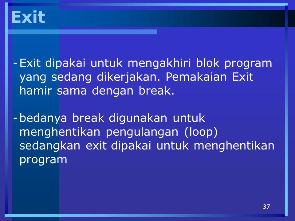 Exit Exit dipakai untuk mengakhiri blok program yang sedang dikerjakan. Pemakaian Exit hamir sama dengan break.