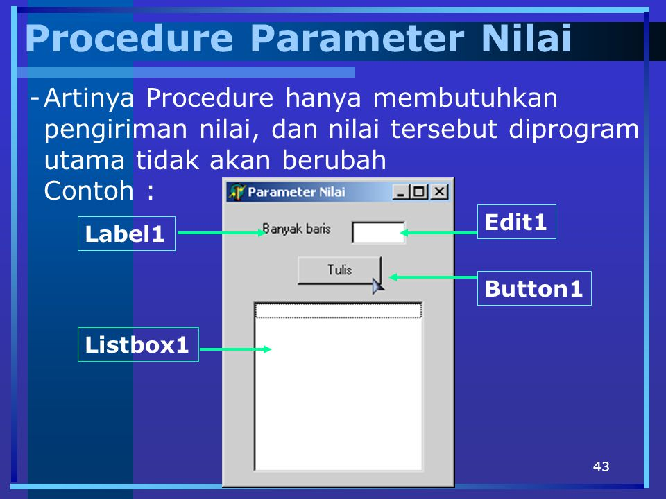 Procedure Parameter Nilai
