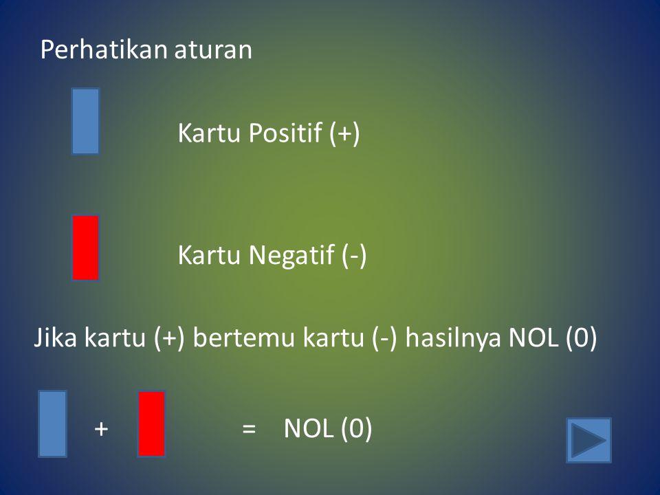 Perhatikan aturan Kartu Positif (+) Kartu Negatif (-) Jika kartu (+) bertemu kartu (-) hasilnya NOL (0)