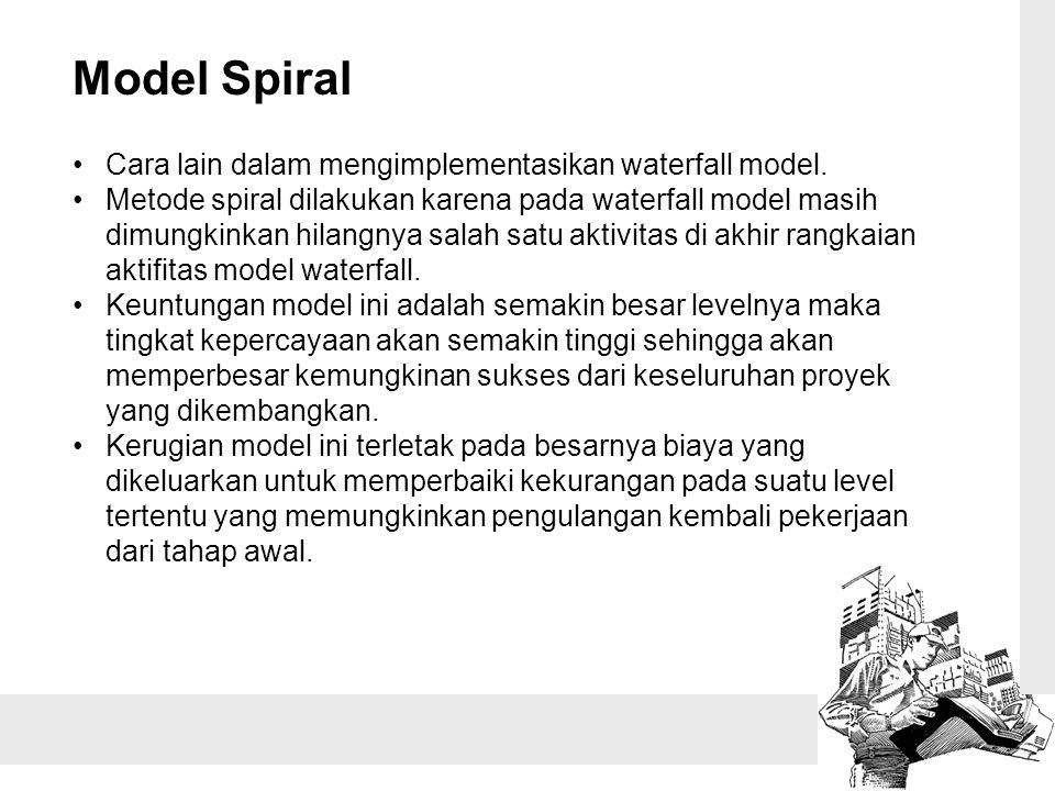Model Spiral Cara lain dalam mengimplementasikan waterfall model.