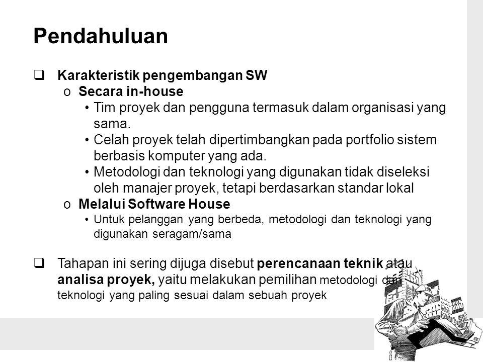 Pendahuluan Karakteristik pengembangan SW Secara in-house