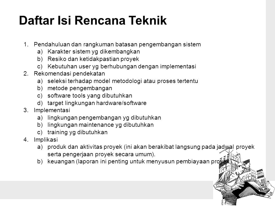 Daftar Isi Rencana Teknik