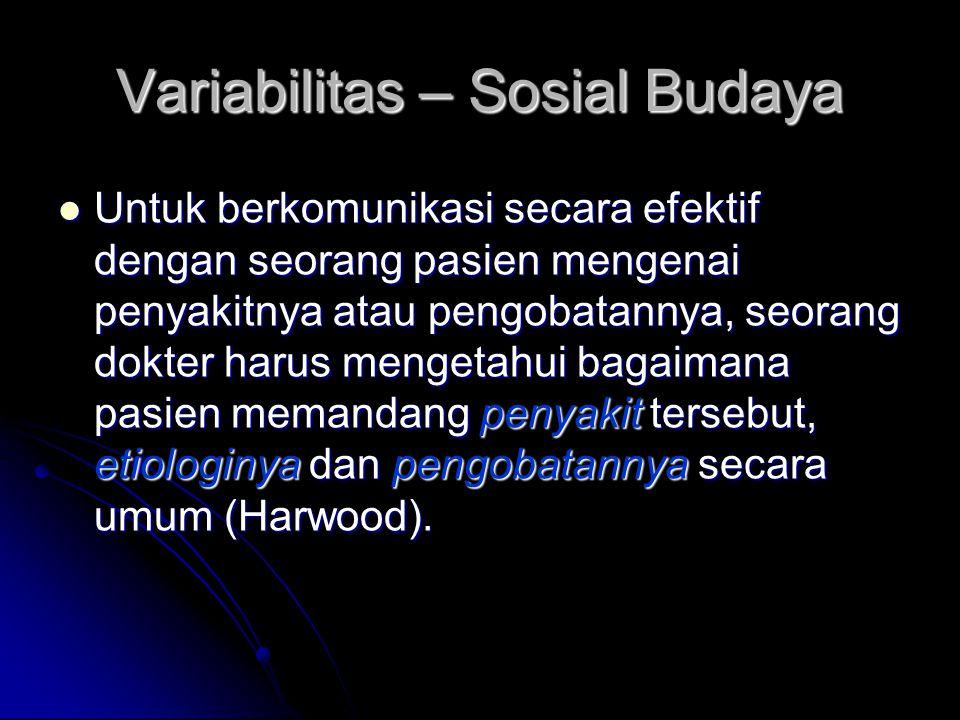 Variabilitas – Sosial Budaya